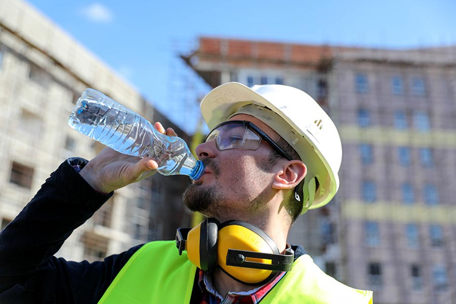 Stay hydrated when working outside in the heat